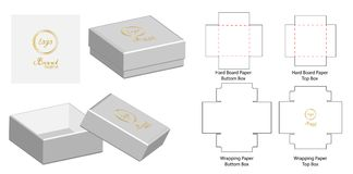 Caja que empaqueta diseño cortado con tintas de la plantilla ejemplo del vector de la maqueta 3d ilustración del vector