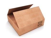 Caja rectangular abierta del carboard Imágenes de archivo libres de regalías