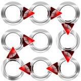 Caja redonda del metal del paso siguiente con las flechas rojas Imagenes de archivo