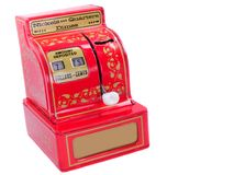 Caja registradora del juguete de la vendimia Fotografía de archivo libre de regalías
