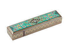 Caja restangular de madera del mosaico (khatam) imagenes de archivo