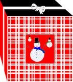 Caja roja de los regalos simples y elegantes de la Navidad, adornada con varias marionetas de la nieve stock de ilustración