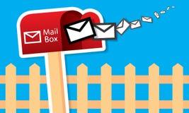 Caja roja del vector con los correos ilustración del vector