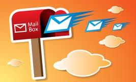 Caja roja del vector con los correos stock de ilustración