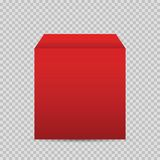 Caja roja realista en fondo transparente Imágenes de archivo libres de regalías