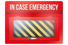 Caja roja vacía con en caso de urgencia stock de ilustración