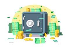 Caja segura con el dinero ilustración del vector