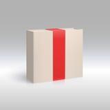 Caja vertical con la cinta roja Imagen de archivo libre de regalías