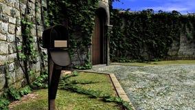 Caja vieja de los posts delante de una casa tradicional libre illustration