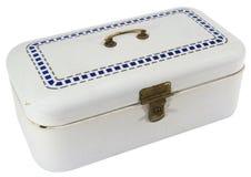 Caja vieja del efectivo del metal azul y blanco con la cerradura de cobre amarillo fotos de archivo libres de regalías