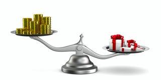 Caja y efectivo de regalo en escala Imágenes de archivo libres de regalías