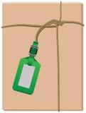 Caja y etiqueta embaladas envueltas paquete ilustración del vector