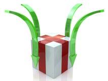 Caja y flecha Fotografía de archivo libre de regalías