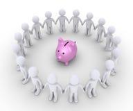 Caja y gente de dinero del cerdo alrededor de ella Foto de archivo libre de regalías