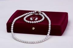 Caja y perlas de regalo fijadas Fotos de archivo
