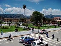 Cajamarca Peru - mars 12, 2014: Sikt över huvudsaklig fyrkant Royaltyfri Bild