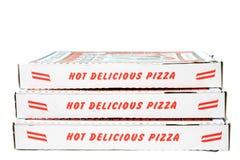 Cajas apiladas de la pizza Imágenes de archivo libres de regalías