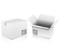 Cajas blancas Foto de archivo