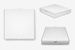 Cajas blancas de la pizza del vector fijadas Foto de archivo