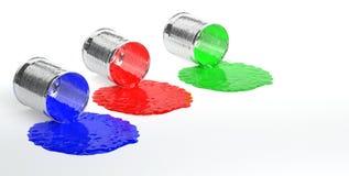 Cajas brillantes del metal con la pintura colorida Fotos de archivo
