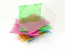 Cajas CD coloreadas en colores pastel Foto de archivo