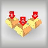 Cajas con las flechas Imágenes de archivo libres de regalías