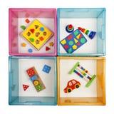 Cajas con los juguetes Imágenes de archivo libres de regalías