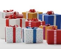 Cajas 3d-illustration de los presentes de los regalos Foto de archivo