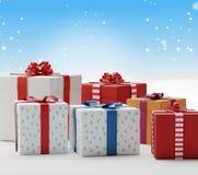 Cajas 3d-illustration de los presentes de los regalos de la Navidad Foto de archivo