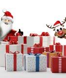 Cajas 3d-illustration de los presentes de los regalos de la Navidad con Santa Claus Fotografía de archivo