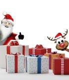 Cajas 3d-illustration de los presentes de los regalos de la Navidad con Santa Claus Imágenes de archivo libres de regalías