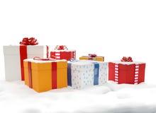 Cajas 3d-illustration de los presentes de los regalos de la Navidad con Santa Claus stock de ilustración
