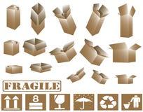 cajas de cartón 3d y colección marrones de la muestra Imágenes de archivo libres de regalías