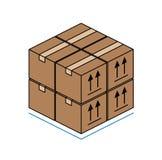Cajas de cartón aisladas en el fondo blanco Imágenes de archivo libres de regalías