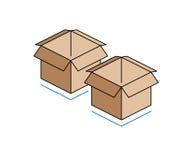 Cajas de cartón aisladas en el fondo blanco Imagenes de archivo
