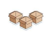 Cajas de cartón aisladas en el fondo blanco Foto de archivo libre de regalías