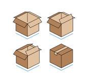 Cajas de cartón aisladas en el fondo blanco Fotografía de archivo libre de regalías