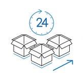 Cajas de cartón con el reloj aislado en el fondo blanco Fotografía de archivo libre de regalías