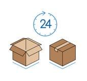 Cajas de cartón con el reloj aislado en el fondo blanco Fotos de archivo libres de regalías