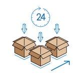 Cajas de cartón con el reloj en el fondo blanco Imagen de archivo
