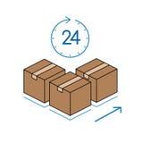 Cajas de cartón con el reloj en el fondo blanco Imagenes de archivo