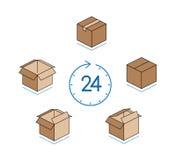Cajas de cartón con el reloj en el fondo blanco Fotografía de archivo