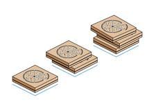 Cajas de cartón con la pizza aislada en el fondo blanco Imagen de archivo