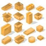 cajas de cartón de diversos formas y tamaños con los emblemas de la fragilidad en ellos stock de ilustración