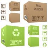 Cajas de cartón del envío fijadas Foto de archivo