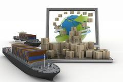 Cajas de cartón en el mundo entero en una pantalla del ordenador portátil y dos buques de carga Foto de archivo libre de regalías