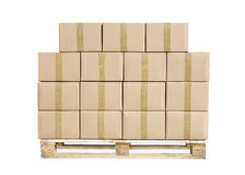 Cajas de cartón en la gama de colores de madera en blanco imágenes de archivo libres de regalías