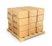 Cajas de cartón en la paleta. Entregue el concepto. icono 3D aislado stock de ilustración