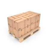 Cajas de cartón en la plataforma de madera y x28; 3d illustration& x29; Imagen de archivo