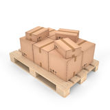 Cajas de cartón en la plataforma de madera y x28; 3d illustration& x29; Fotos de archivo